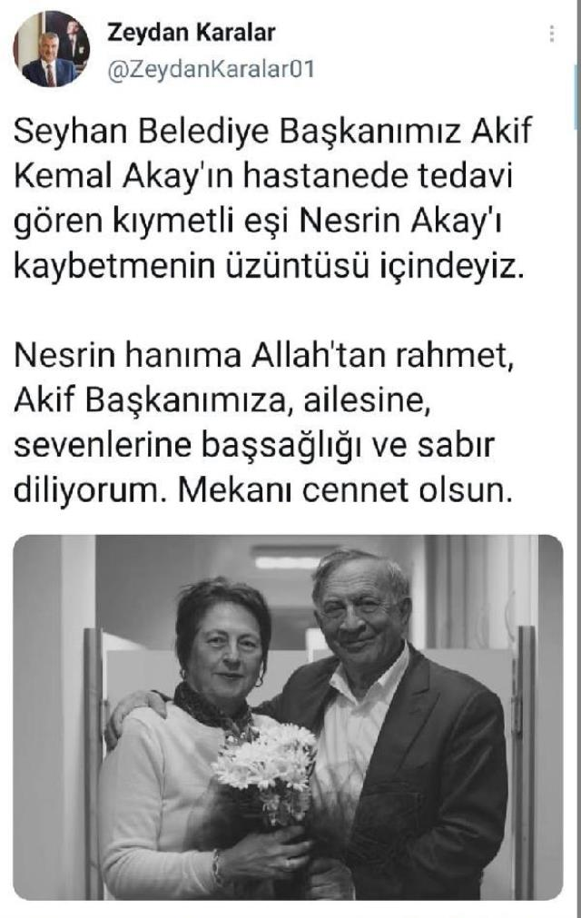 Koronavirüse yakalanan Seyhan Belediye Başkanı Kemal Akay'ın eşi hayatını kaybetti