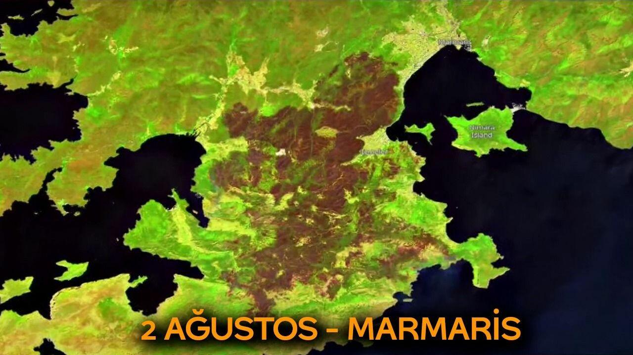 Marmaris'te kaybedilen ormanlık alan